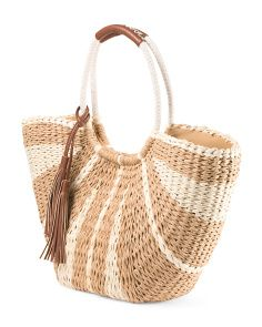 Straw Striped Shoulder Tote