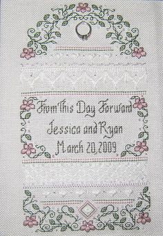 Another lovely design from The Sweetheart Tree. This would make a beautiful sampler to give someone on their wedding day. Available as a kit from 1-2-3 Stitch!: http://www.123stitch.com/cgi-perl/itemdetail.pl?item=SE7