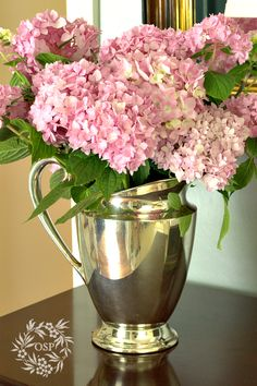 Pink Hydrangeas in a Silver Pitcher