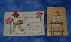 ANTIQUE VICTORIAN BIRTHDAY POSTCARD AND ANTIQUE STOVE TRADE CARD ADVERTISING