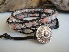 Leather Wrap Bracelet Chan Luu Inspired  3x Amethyst Quartz Rock Crystal. $36.00, via Etsy.