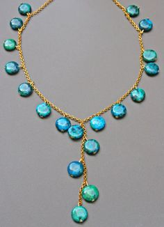Chrysocolla Necklace gold plated chain turquoise by Blitzrider, $28.99