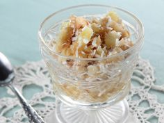Betty's Apple Ambrosia recipe from Trisha Yearwood via Food Network ~ commentor added slivered almonds for crunch, another added grated pears, another added marchino cherries for color.