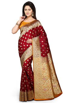 Red banarasi saree..