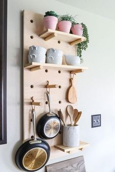 Woodworking Diy Furniture How to make a DIY pot rack from oversized pegboard shelves.Woodworking Diy Furniture How to make a DIY pot rack from oversized pegboard shelves Easy Woodworking Projects, Woodworking Furniture, Diy Furniture, Woodworking Plans, Diy Projects, Furniture Websites, Woodworking Workshop, Woodworking Tools, Diy Kitchen Cabinets