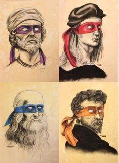 The original ninja turtles: Donatello, Michelangelo, Da Vinci, Raphael