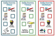Chore Charts for 2-4 yr olds