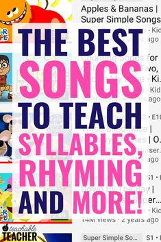 It's extra fun to teach phonemic awareness with songs and nursery rhymes. Preschool, kindergarten and first grade students will have a lot of fun learning letter sounds, rhyming and more with these videos. Nursery Rhymes Kindergarten, Rhyming Kindergarten, Phonemic Awareness Kindergarten, Phonemic Awareness Activities, Preschool Songs, Homeschool Kindergarten, Kindergarten Reading, Preschool Learning, Teaching Reading