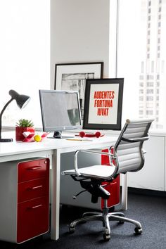 Inside the Information office in San Francisco - Red West 18th File Cabinets + Pen Cups from Poppin