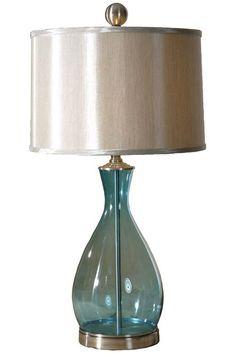 Beach House Blues ● Meena Table Lamp  Blue Glass - Lighting