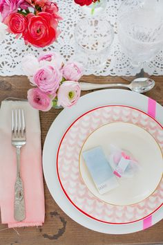 Watercolors and florals make for a beautiful table setting.