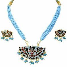 Little India Traditional Sky Blue Design Brass Necklace Set! #necklaceset