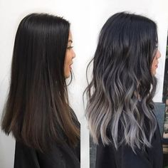Trendy Hair Highlights : 33 Stunning Hairstyles for Black Hair 2018 - GlamFashio., Frisuren,, Trendy Hair Highlights : 33 Stunning Hairstyles for Black Hair 2018 - GlamFashion Dark Hair Grey Highlights, Balayage Hair Grey, Balayage Brunette, Hair Color Dark, Brown Hair Colors, Brunette Hair, Color Highlights, Hair Color Ideas For Black Hair, Balayage Highlights