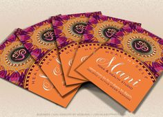 New Age Yoga Business Card Fresh Energy Pink Orange Mandala