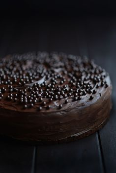 From The Kitchen: Celebration Chocolate Cake - This is a large cake that serves 15-20. Some of the key ingredients: 10 eggs, Amaretto liqueur, 3 1/2 cups of ground almonds, and Valrhona chocolate pearls  - Celebration, indeed!