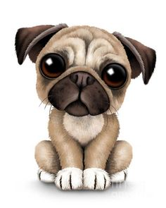 jeff bartel art | Cute Pug Puppy Dog Print by Jeff Bartels