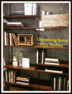 Organizing home office shelves