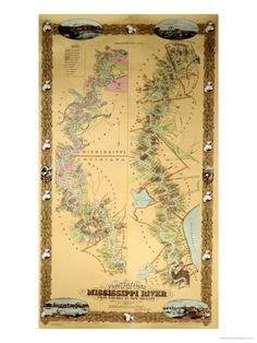 Map Depicting Plantations on the Mississippi River from Natchez to New Orleans, 1858 Giclee Print