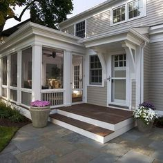 Screen Porch Kits Traditional Porch and Container Plants Deck Entrance Entry Flagstone Potted Plants Screen Door Screened Porch White Trim Window Boxes Wood Siding Screened Porch Designs, Front Porch Design, Screened In Porch, Front Porches, Bungalows, Screen Porch Kits, Screen Doors, White Window Trim, White Trim