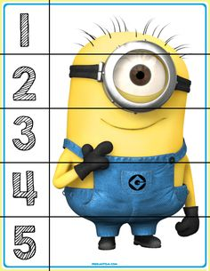 Free printable activities with familiar characters to help introduce numbers to children with autism. With this simple puzzle your child can build one of their favorite characters while being exposed to basic numbers. #education #autism #minions #homeschool