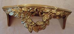 "Vtg Wall Shelf Gold Gilt Molded Leaf Wreath Hollywood Chic Filigree 5.5""x13"""