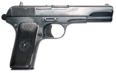 """The Tokarev TT (""""Tula, Tokarev"""")  Chambering: 7.62x25mm TT (7.63 mm Mauser) Type: Single action Weight: 910 g Length: 116 mm Capacity: 8 rounds Pistol was developed as a result of continuous trials, held by the Red Army in the mid- and late 1920s. Red Army looked for a new, modern semiautomatic pistol to replace obsolete Nagant M1895 revolvers and a variety of foreign semi-automatic pistols."""
