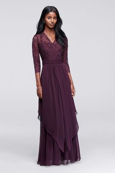 3/4 Sleeve Beaded Illusion Lace and Chiffon Mother of Bride/Groom Dress - Eggplant (Purple), 6