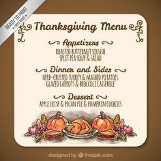 Mão menu de comida thanksgiving pintado