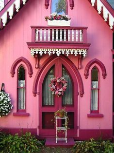 The famous Pink Gingerbread Cottage, Martha's Vineyard