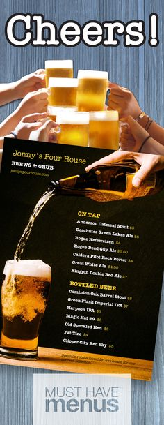 Work hard, play hard! Make your draft beer list an ode to a productive week and a stellar weekend! Like the menu design? Just double click :)