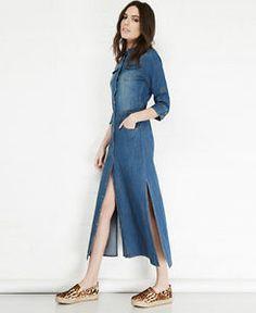 b07b4891ae0 2016 New Women Denim Dresses Spring Summer Casual Vintage Slim Single  Button Hem Slits Pockets Long Denim Dress Women    You can get additional  details at ...