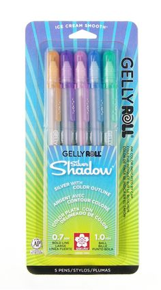 Sakura Gelly Roll Gel Pens, Silver Shadow Two Tone Ink, 5 Color Set, Orange Sakura Pens, Gel Ink Pens, Paint Pens, Arts And Crafts Supplies, Art Supplies, Custom Stationery, Rollerball Pen, Color Lines, Pen Sets