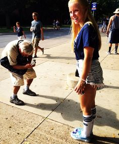 Rocking her Stubborn Jeans custom Penn State kicks at the tailgate, this guy HAD to get a pic. Order yours at Stubborn Jeans on Etsy and check us out on insta. Denim Vests, Jean Shorts, Kicks, Victoria, Running, Guys, Jeans, Check, Denim Shorts