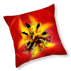 Red and Yellow Flower Decorative Throw Pillow  by PhotoArtTreasures at Etsy.