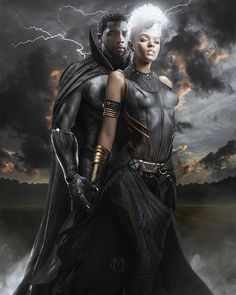 Black Panther Storm, Black Panther Art, Black Panther Marvel, Black Couple Art, Black Love Art, Black Couples, Storm Marvel, Marvel Dc, Marvel Funny