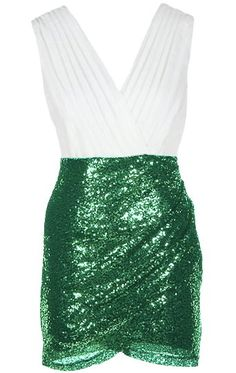 Beautifully tailored and finished with the perfect amount of sparkle, this spellbinding number will carry you through your hen party in style! Features an elegant surplice chiffon bodice, clever duo fabric design, glittering green sequin wrap skirt, and a hidden side zip closure to finish.