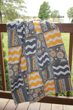 Baby Rag Quilt, In yellow/white and gray/white chevron. Reverse side has charcoal gray minky for an extra luxious feel.Handmade Quilt! on Etsy, $110.00