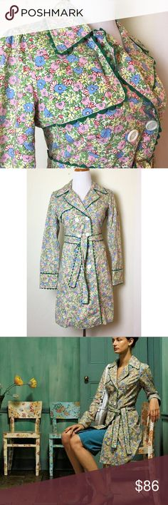 Gorgeous floral trench coat by Odille Like new floral trench coat with green ric rac detail and pink lining. Double breasted with white buttons down the front and at sleeves. Side pockets and tie waist. Anthropologie Jackets & Coats Trench Coats