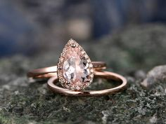2pcs Tear Droped Morganite engagement ring set-Solid 14k Rose gold ring-Plain matching band- promise ring-anniversary ring for her-pave set