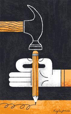 'Writer's Block' by Kyle Jones Creative Poster Design, Creative Posters, Art Design, Cover Design, Pattern Illustration, Graphic Illustration, Graphic Art, Graphic Design, Design Graphique