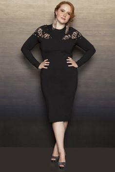 Z BLACK LABEL- Black Inset Lace Midi Dress