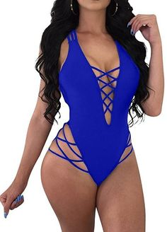Womens Sexy One Piece Lace Up Straps Swimsuit Bathing Suit Swimwear Women's One Piece Swimsuits, Women Swimsuits, Womens Clothing Stores, Clothes For Women, One Piece For Women, Shorts, Bathing Suits, Lace, Sexy