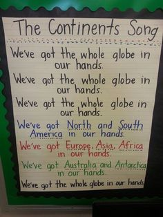Continents Song for Kindergarten or First Grade! Continents Song for Kindergarten or First Grade! 3rd Grade Social Studies, Social Studies Activities, Teaching Social Studies, Kindergarten Social Studies Lessons, Kindergarten Songs, Preschool Songs, Montessori, Sight Words, Continents And Oceans