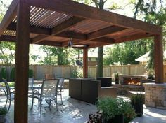 32 Creating Stunning Pergola Decorations Inspiring Ideas, These ideas you are able to try prior to making your pergola design. The ravishing pergola design functions as a home extension. An exceptional pergol. Modern Pergola, Outdoor Fireplace, Outdoor Living, Garden In The Woods