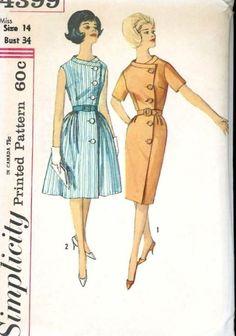 UNCUT 1960s Simplicity 4399 Wrap Around Asymmetrical Button Front Dress Bust 34 #VintageSewingPatterns #VintageDressPatterns  Versatile pattern! Dressy or Casual!