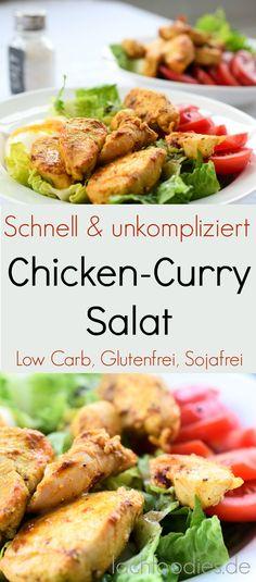 Chicken curry salad with tomatoes. Ein unkompliziertes Salat-Rezept für ein gesundes Mittagessen. Schnell zubereitet und unfassbar lecker. Low Carb, Paleo, Glutenfrei, Sojafrei