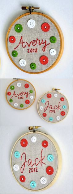 Personalized Christmas Ornaments! Looking for a special holiday gift for the little ones in your life? These personalized embroidery hoops feature the child's name and date hand embroidered on linen fabric. Colorful buttons add a fun detail! | Made on Hatch.co