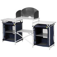 Campart Travel Campingküche Malaga KI-0732 Camping-Schrank 4 Fächer Alu Mit Aufbewahrungs-Tasche Windschutz Maße: 172 x 48 x 79.5/110.5 cm