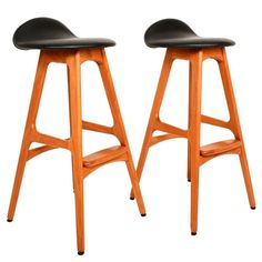 Eric Buck Teak Bar Stools | See more antique and modern Stools at https://www.1stdibs.com/furniture/seating/stools