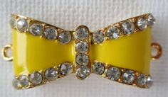 1PC  Bow Connector  Yellow Enamel with Rhinestones  by ZARDENIA, $3.00